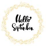 Hand getrokken het van letters voorzien uitdrukking hello september Royalty-vrije Stock Afbeeldingen