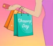 Hand Getrokken het Winkelen Dag met de holdingsbetaalpas en zakken van de vrouwenhand Royalty-vrije Stock Foto