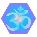 Hand getrokken Hindoese Om tekenkunst op trillende hexagon heilige meetkundeachtergrond Groot voor t-shirt, tatoegerings, hoofdku vector illustratie