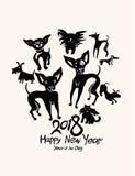 Hand getrokken Honden 2018 royalty-vrije illustratie