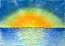 Hand getrokken illustratie van mooie kleurrijke zonsopgang Stock Foto