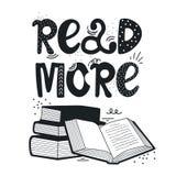Hand getrokken illustratie met stapel van boeken en het van letters voorzien Lees meer boeken stock illustratie