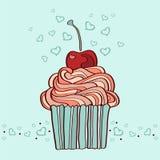hand getrokken illustratie van cupcake met kers Stock Foto