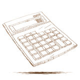 Hand getrokken illustratie van een calculator Stock Foto