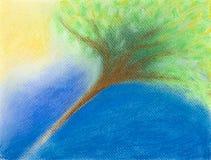 Hand getrokken illustratie van boom in zonlicht Stock Afbeelding