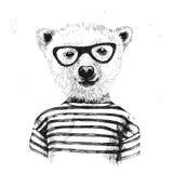 Hand getrokken Illustratie van geklede omhoog hipster beer royalty-vrije illustratie