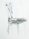 Hand getrokken illustratie van gevouwen dik gordijn Stock Afbeeldingen