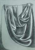 Hand getrokken illustratie van gevouwen satijngordijn Stock Foto