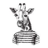 Hand getrokken Illustratie van giraf hipster Stock Fotografie