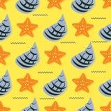 Hand getrokken illustraties - naadloos patroon van zeeschelpen Mariene achtergrond Royalty-vrije Stock Afbeelding