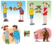 Hand getrokken illustraties over mensenrelaties stock fotografie