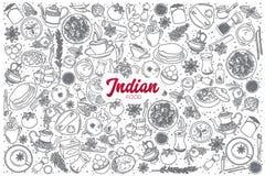 Hand getrokken Indisch die voedsel met het van letters voorzien wordt geplaatst Royalty-vrije Stock Foto's