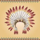 Hand getrokken inheems Amerikaans Indisch belangrijkst hoofddeksel Stock Afbeeldingen