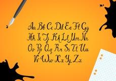 Hand getrokken inktalfabet royalty-vrije illustratie