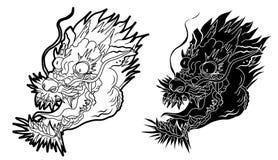 Hand getrokken Japans draakhoofd op witte achtergrond krabbelkunst en dierlijk de draak` s hoofd van Fairytale royalty-vrije illustratie
