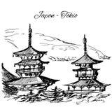 Hand getrokken Japanse pagodescène met meerdere verdiepingen Royalty-vrije Stock Afbeelding