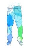 Hand getrokken jeans met gekleurde vlekken royalty-vrije illustratie