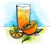 Hand getrokken jus d'orange met plakken van sinaasappel en bladeren Royalty-vrije Stock Foto's