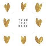 Hand getrokken kaart of affiche Gouden textuur stock afbeeldingen
