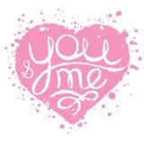Hand getrokken kaart met roze geschilderd hart voor huwelijk, Valentine Stock Fotografie