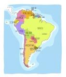 Hand getrokken kaart van Zuid-Amerika Stock Afbeelding