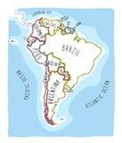 Hand getrokken kaart van Zuid-Amerika Royalty-vrije Stock Foto's