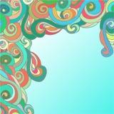 Hand getrokken kader met prachtige krullen Stock Afbeelding