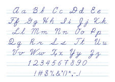 Hand getrokken kalligrafisch alfabet in hoofdletters en Stock Afbeeldingen