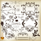 Hand getrokken kalligrafische ontwerpelementen en paginadecoratie Stock Fotografie