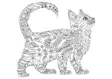 Hand getrokken katje Schets voor antistress kleurende pagina stock illustratie