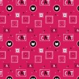Hand getrokken kattenpatroon background_pink Vector Illustratie