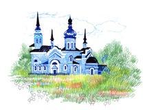 Hand getrokken kerk op het gebied Stock Afbeeldingen