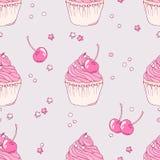 Hand getrokken kersen cupcake naadloos patroon Stock Afbeelding