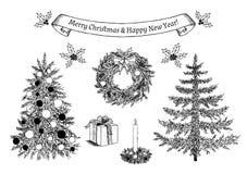 Hand getrokken Kerstbomen en decoratie voor groetkaart Vector illustratie Royalty-vrije Stock Fotografie