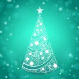 Hand Getrokken Kerstboom op Groene Fonkelende Achtergrond Royalty-vrije Stock Afbeelding
