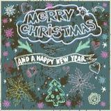 Hand Getrokken Kerstkaart op Bord - Illustratie Krijt l vector illustratie