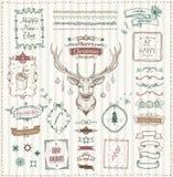Hand getrokken Kerstmis en Nieuwjaarschetselementen stock illustratie