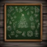 Hand Getrokken Kerstmisreeks. Royalty-vrije Stock Afbeelding