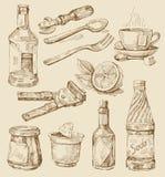 Hand getrokken keukenreeks Stock Afbeeldingen