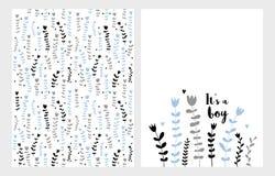 Hand Getrokken Kinder Bloemen Vector Geplaatste Illustraties Blauwe, Grijze en Zwarte Bloemen op een Witte Achtergrond Het ` s ee royalty-vrije illustratie