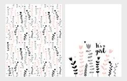 Hand Getrokken Kinder Bloemen Vector Geplaatste Illustraties Roze, Grijze en Zwarte Bloemen op een Witte Achtergrond Het ` s een  stock illustratie