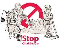 Hand getrokken Kindmeer een vrijheid hebben zij onderwijs, rode het kindbedelaar van het symbooleinde nodig Stock Afbeelding