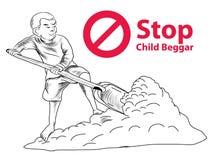 Hand getrokken Kindmeer een vrijheid hebben zij onderwijs, rode het kindbedelaar van het symbooleinde nodig Stock Foto's