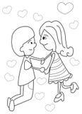 Hand getrokken kleurende pagina van een jongen en meisjesholdingshanden Stock Fotografie