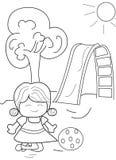Hand getrokken kleurende pagina van een meisje het spelen bal Stock Afbeeldingen