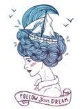 Hand getrokken kleurenkunstwerk van een dromende jonge mooie vrouw Stock Illustratie