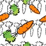 Hand getrokken kleurrijk naadloos patroon met wortel Royalty-vrije Stock Foto