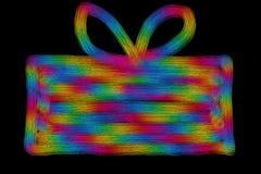 Hand getrokken kleurrijke huidige doos met boog op een bla Royalty-vrije Stock Foto