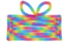 Hand getrokken kleurrijke huidige doos met boog op een whi Royalty-vrije Stock Afbeelding
