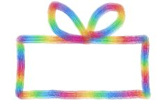 Hand getrokken kleurrijke huidige doos met boog op een whi Stock Foto's